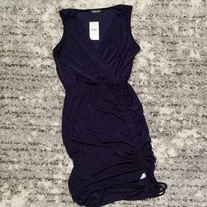*NEW* Fashionova Rauched Navy Dress (M)
